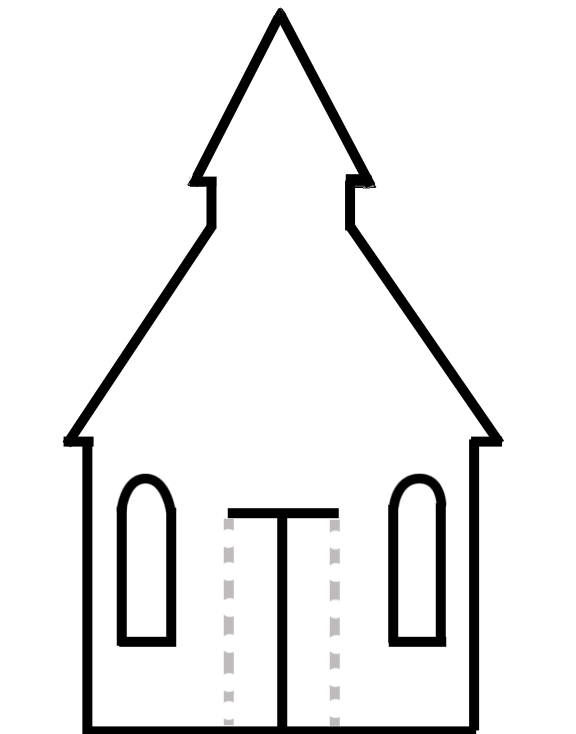 576x734 Church Outline Clipart