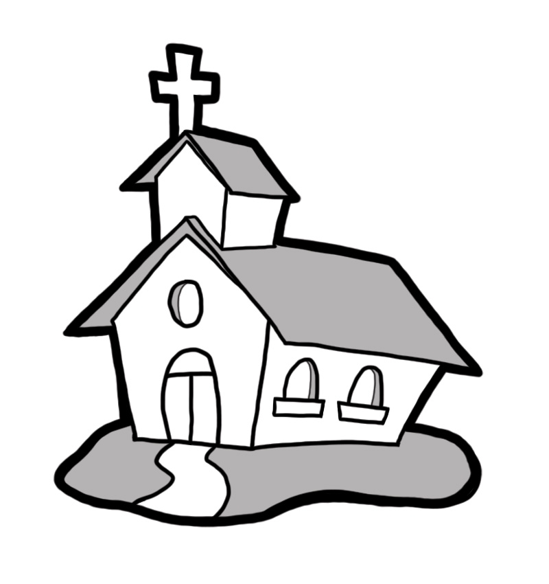 800x850 Church Clipart Outline