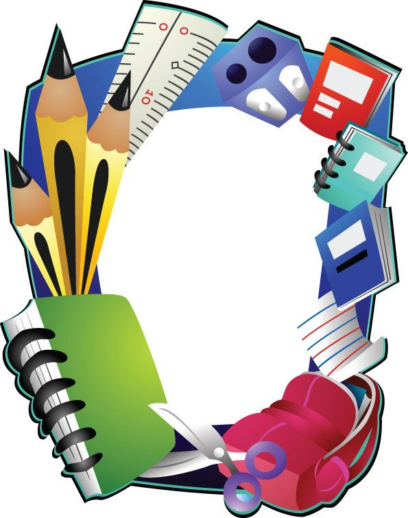 School Supplies Border Clipart