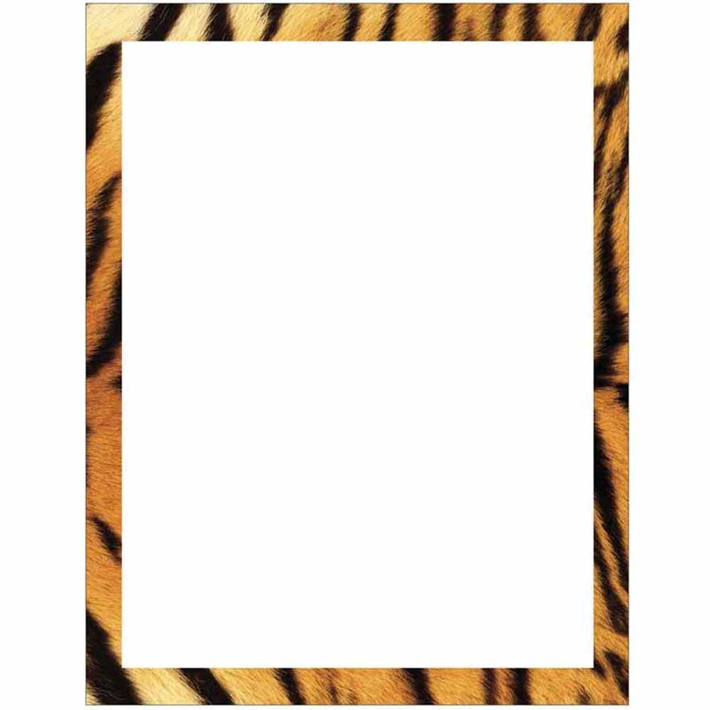 1000x1000 Tiger Print Border Stationery Letter Paper