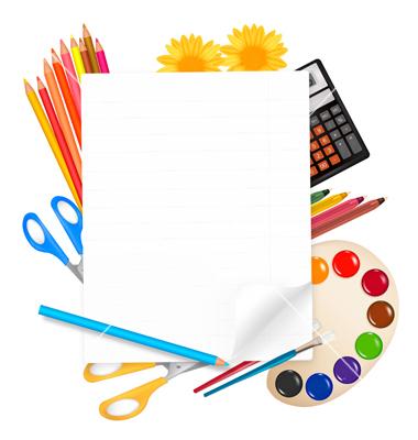 380x400 School Supplies Borders Clip Art