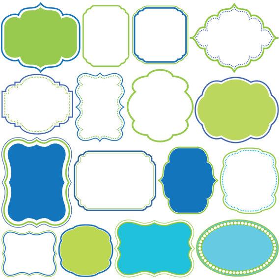 570x570 Scrapbook Clip Art Commercial Use Digital Frames And Borders Blue