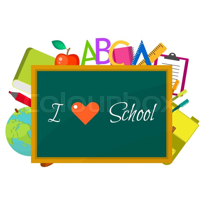 800x800 School Supplies Vector Clip Art Objects. Blackboard I Love School