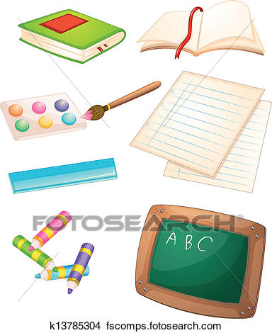 384x470 Clipart Of Different Things Used In The School K13785304