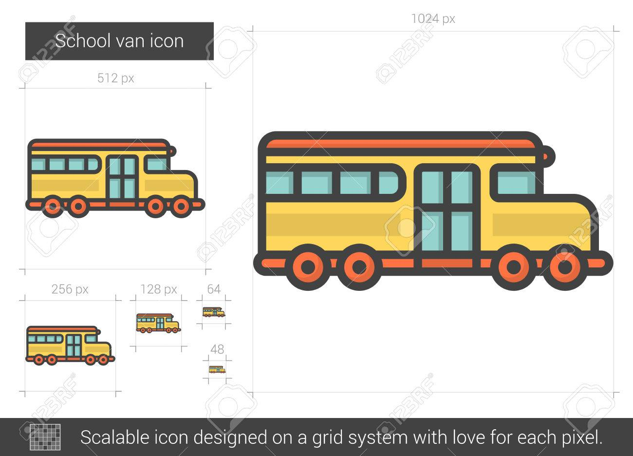 1300x936 School Van Line Icon. Royalty Free Cliparts, Vectors, And Stock