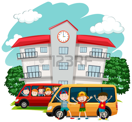 450x413 Students Riding On Red Van To School Illustration Royalty Free