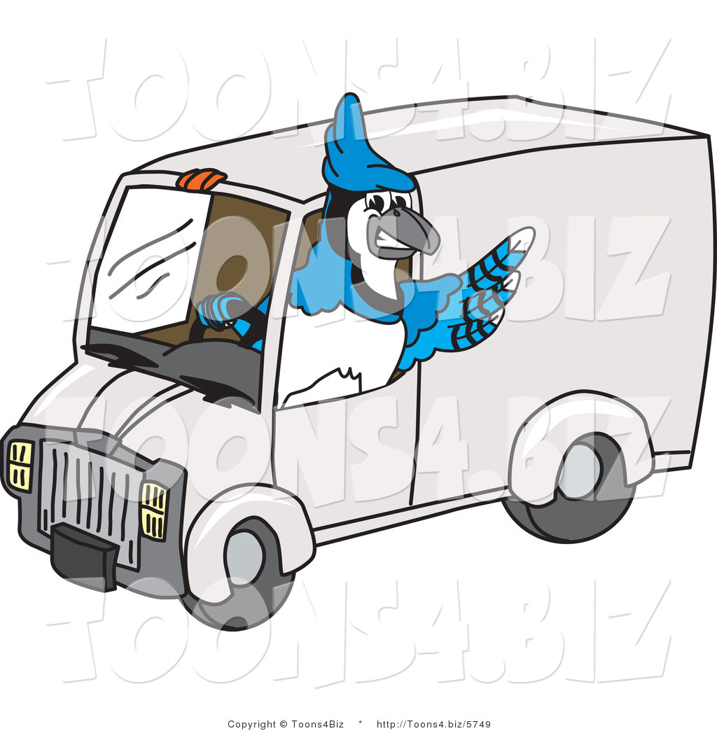 1024x1044 Vector Illustration Of Cartoon Blue Jay Mascot Driving