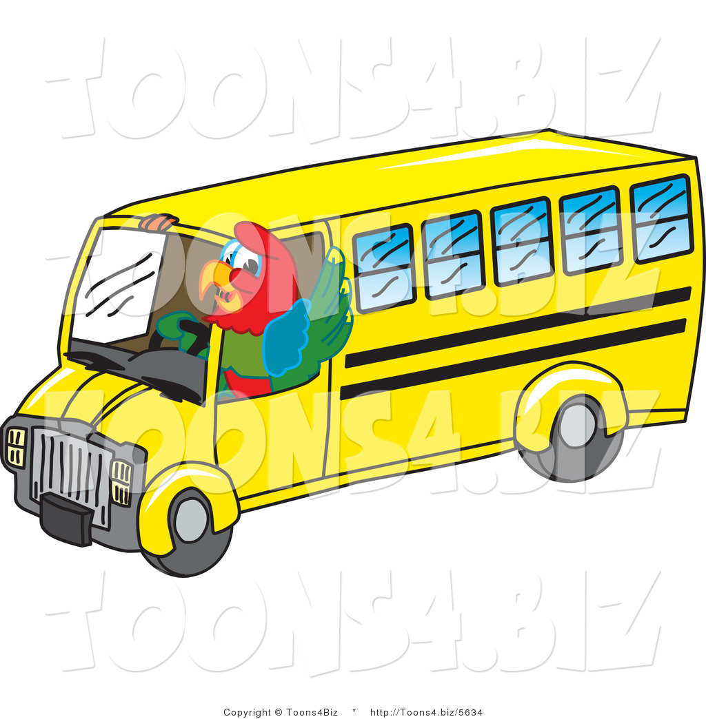 1024x1044 Vector Illustration Of A Cartoon Parrot Mascot School Bus Driver