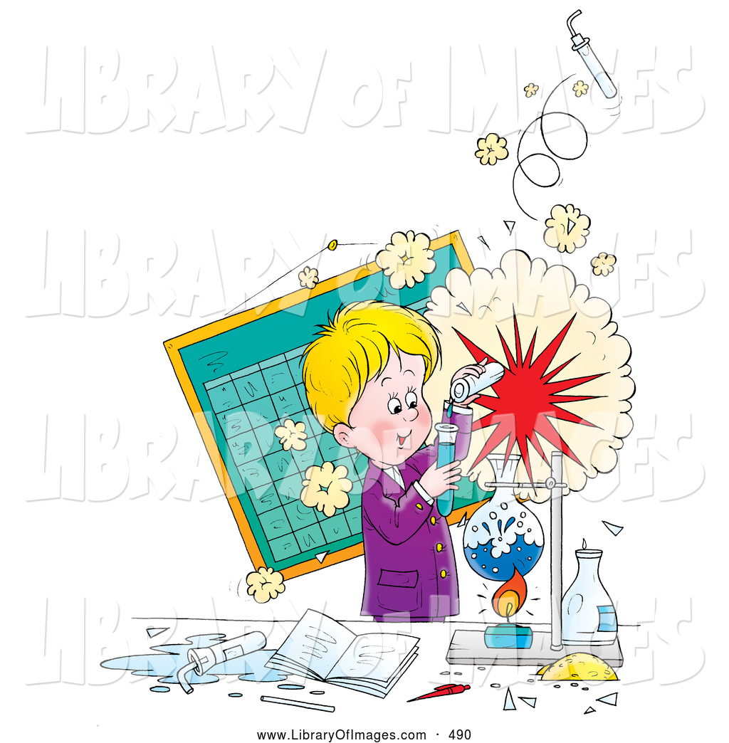 1024x1044 Clip Art of a Cheerful Little Boy Creating an Explosion During a