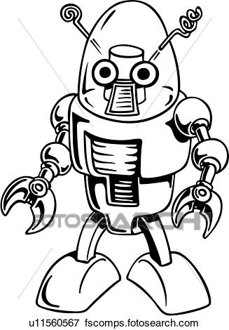 327x470 Clip Art of , alien, cartoon, robot, science fiction, wacky