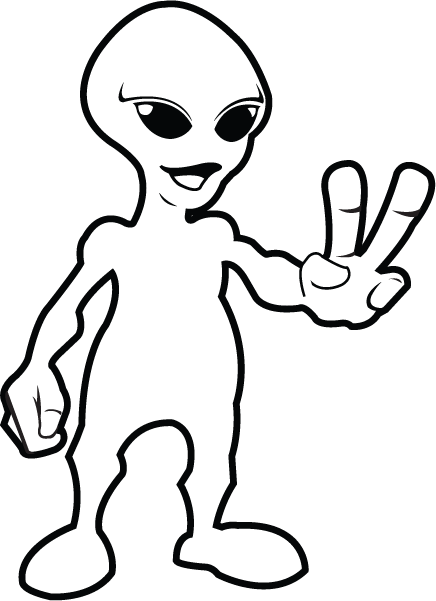 436x601 Free Clip Art Fantasy amp Sci Fi » Science Fiction » Peaceful Alien BampW