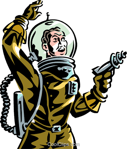 409x480 Astronaut with ray gun science fiction Royalty Free Vector Clip