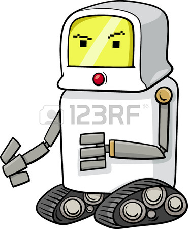 370x450 Black And White Cartoon Illustration Of Funny Robot Science