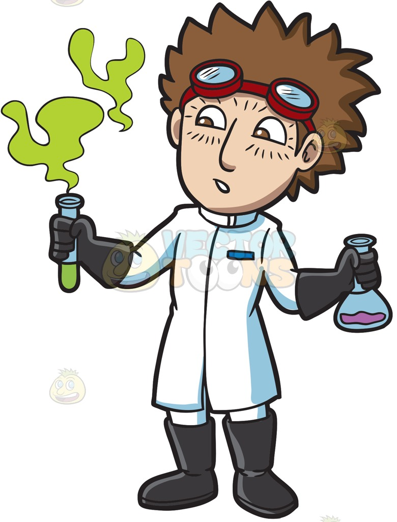 780x1024 A Scientist Observing A Fuming Chemical Cartoon Clipart