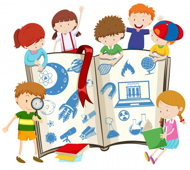 626x560 Science Book And Children Illustration Vector Free Download