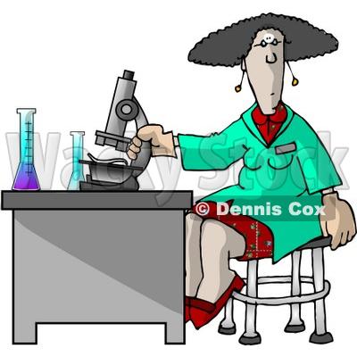 400x400 Scientist Using A Microscope In A Laboratory Clipart Picture