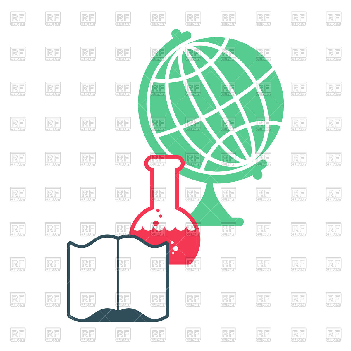 1200x1200 Science. Emblem For Scientific Laboratory With Flask And Globe