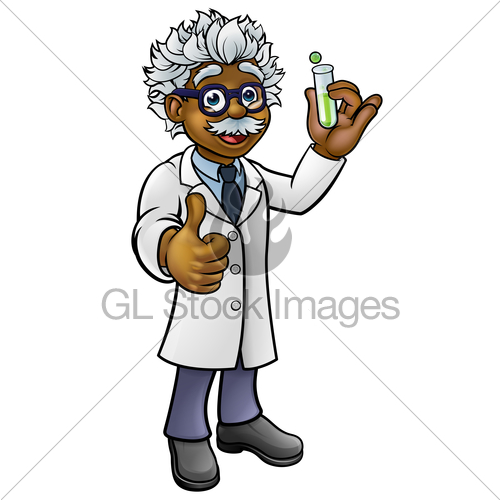 500x500 Cartoon Scientist Holding Test Tube Gl Stock Images