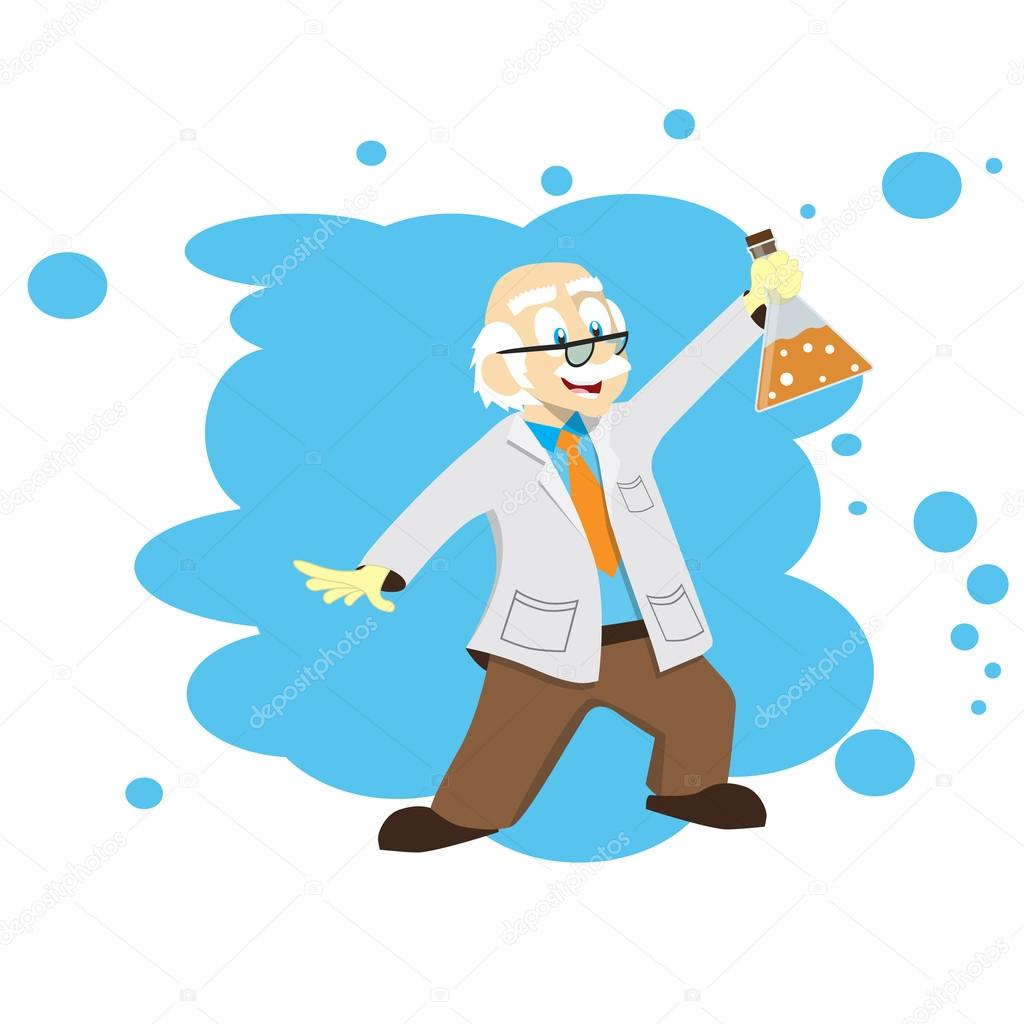 1024x1024 Cartoon Scientist, Doctor, Professor With A Flask. Vector