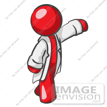 450x450 Clip Art Graphic Of A Red Guy Character Scientist Waving