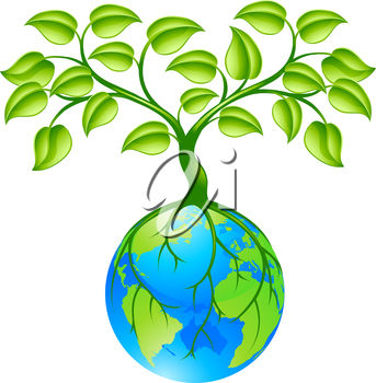 343x350 Clip Art Illustration Of A Tree Growing Our Of The Earth