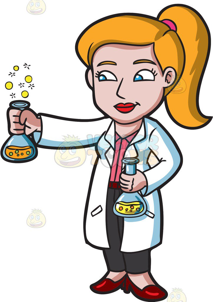 723x1024 A Female Scientist Holding A Bubbly Chemical Experiment Cartoon