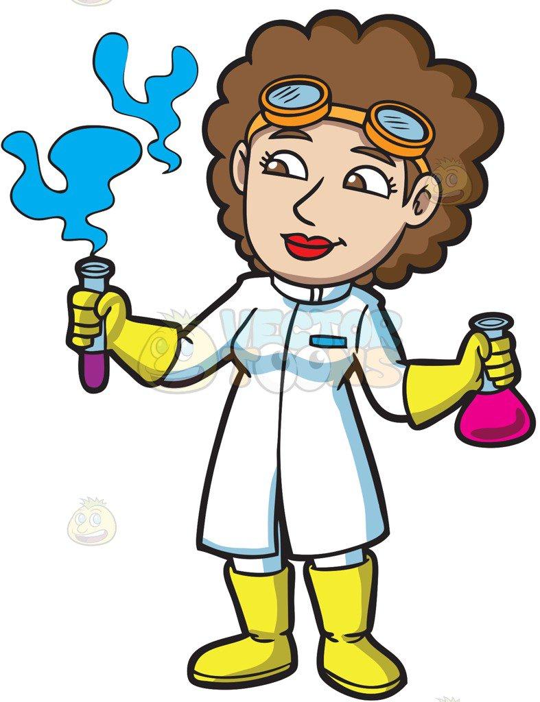 787x1024 A Female Scientist Looking At The Fumes From A Test Tube Cartoon