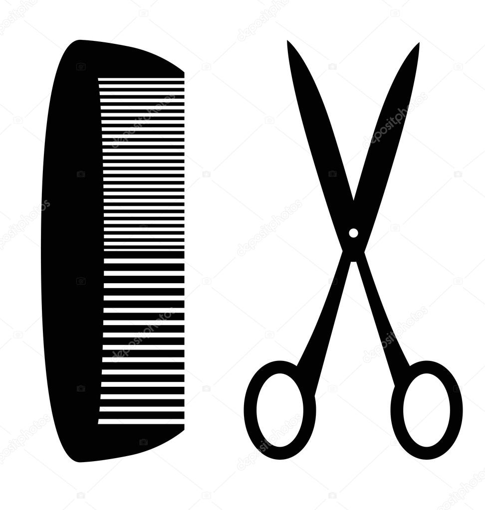 972x1023 Black Silhouette Of Comb And Scissors White Studio Background