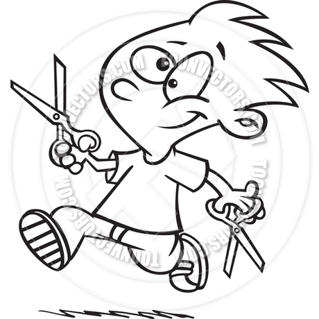 460x460 Cartoon Boy Running With Scissors (Black And White Line Art) By