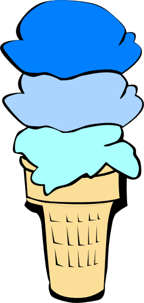 282x593 Ice Cream Cone Blue Scoops Clip Art