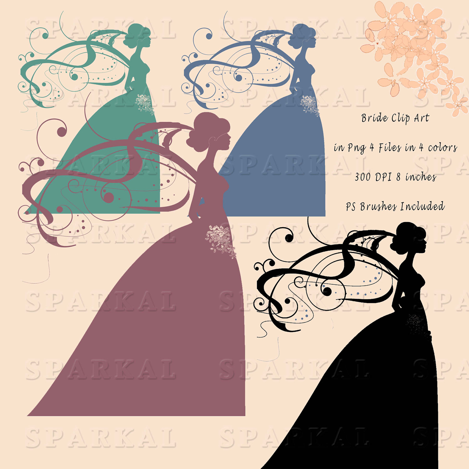 1500x1500 Digital Wedding Bride Clip Art Photoshop Brushes Included