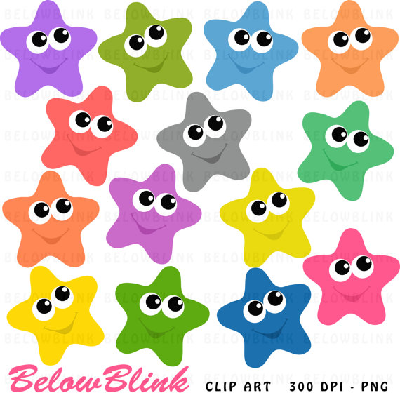 570x570 Happy Stars Clipart Clip Art Digital Scrapbooking Commercial