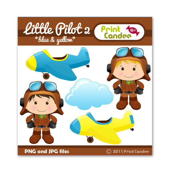 600x600 Little Pilot 2 Blue Amp Yellow Digital Clip Art Personal