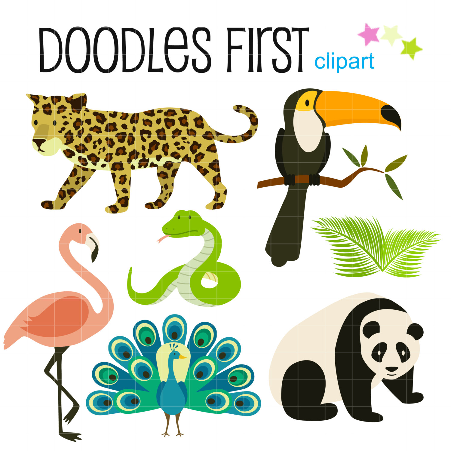 1500x1500 Tropical Rainforest Animals Digital Clip Art For Scrapbooking