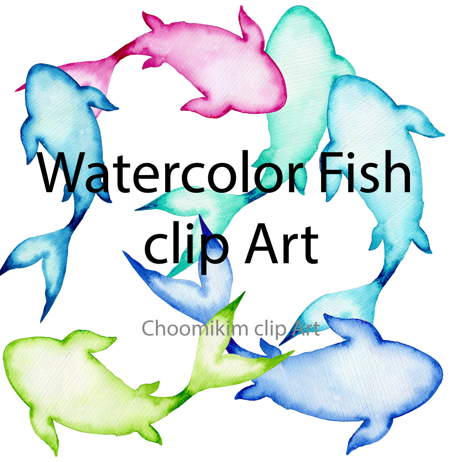 1500x1500 6 Watercolour Fish, Koi Illustration Clipart, Clip Art Instant