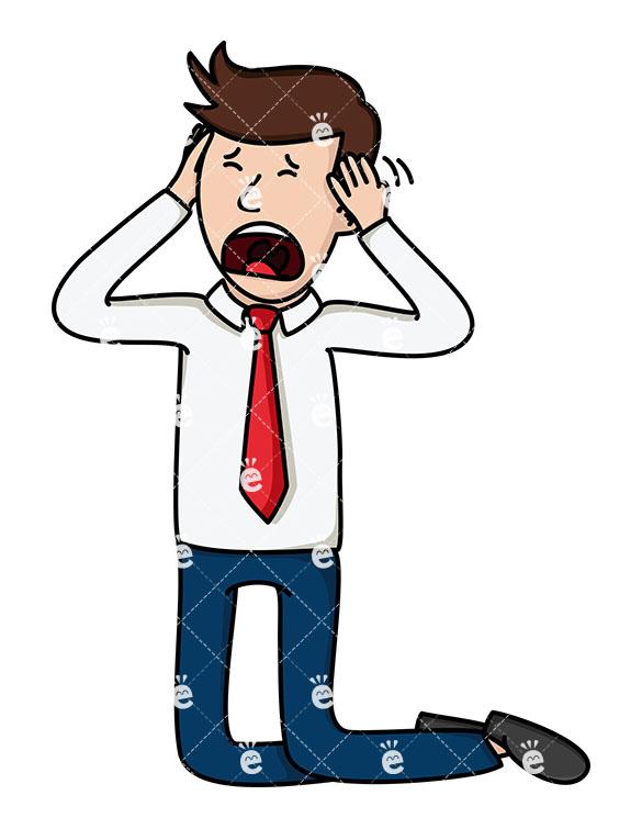 585x755 Devastated Businessman On His Knees Screaming