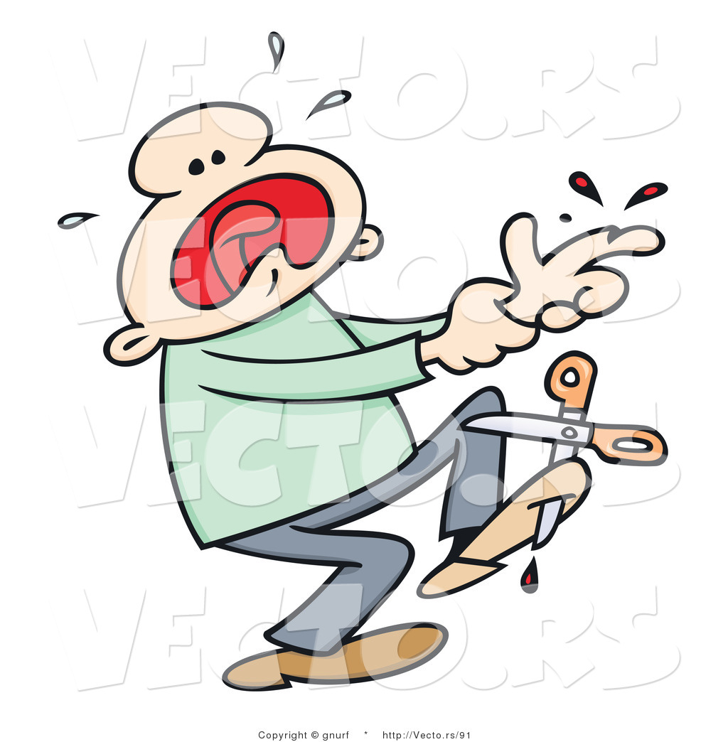 1024x1044 Vector Of A Injured Cartoon Man Crying And Screaming After Cutting
