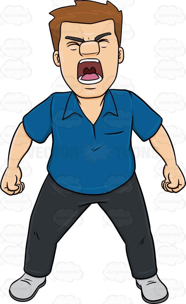 627x1024 A Man Screaming Out Loud Cartoon Clipart