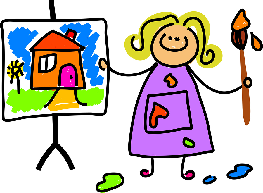 900x660 Painting Kids With Clipping Path Royalty Free Cliparts Vectors