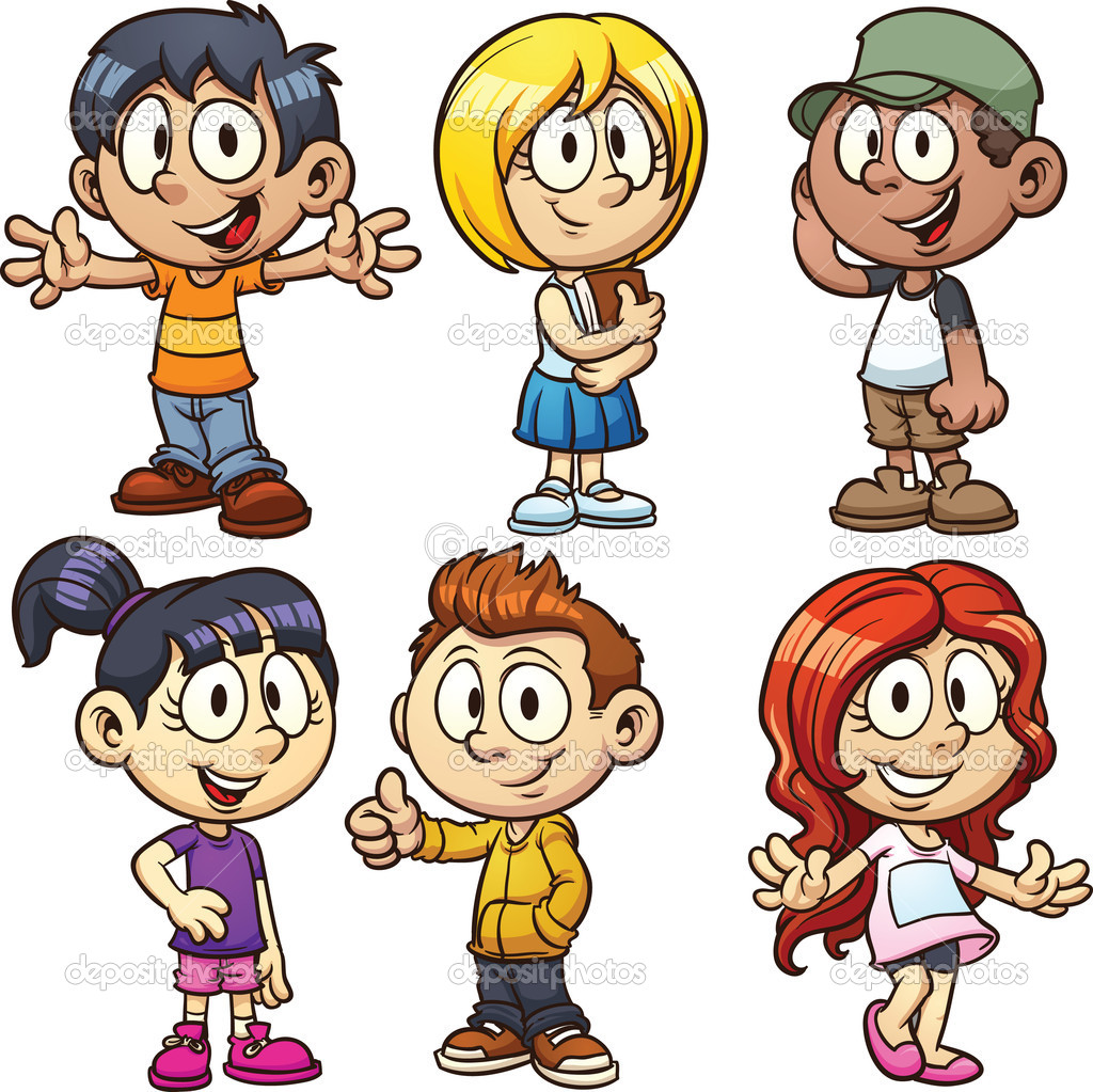 1024x1023 School Kids Character Clipart