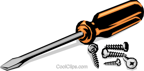 480x237 Screwdriver With Screws Royalty Free Vector Clip Art Illustration