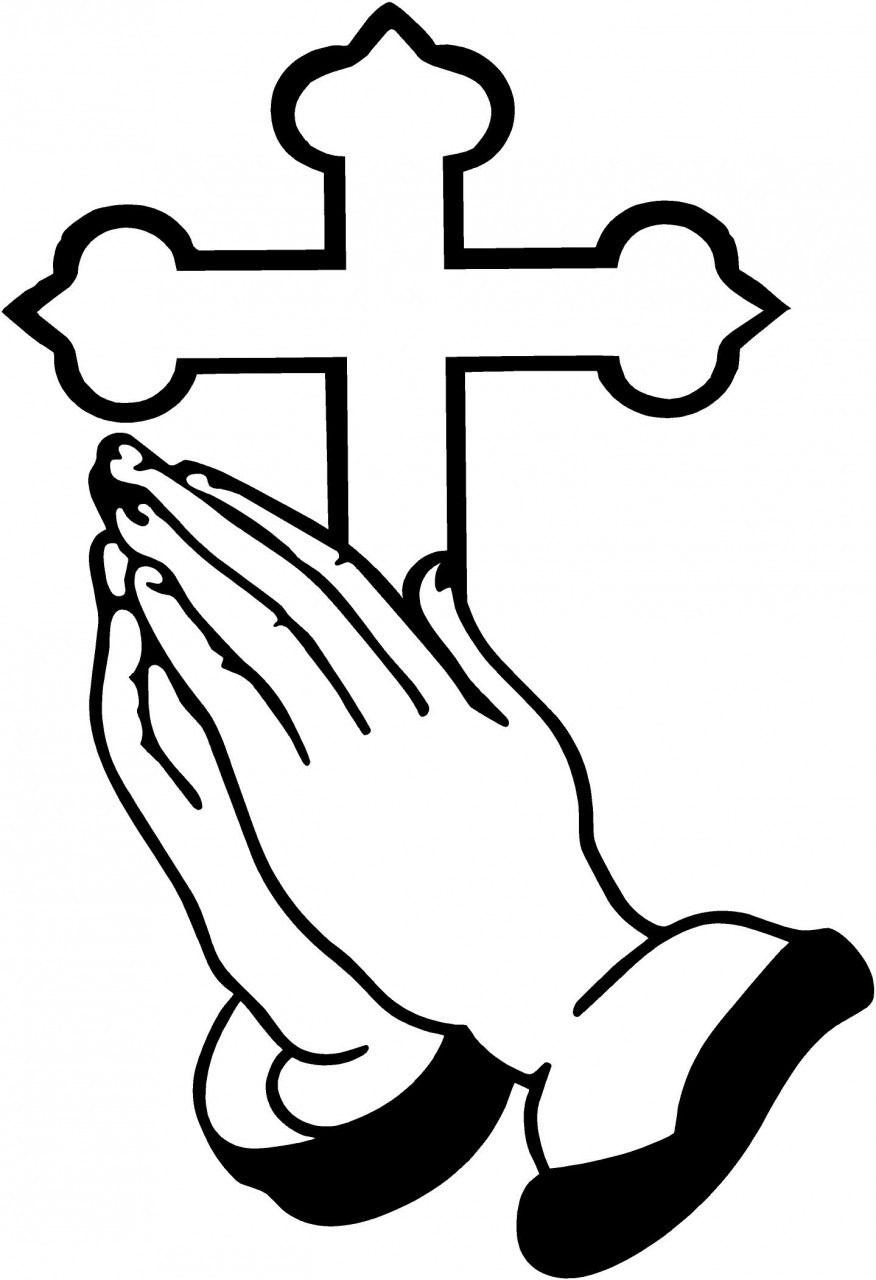 876x1280 Praying Hands Black And White Clipart