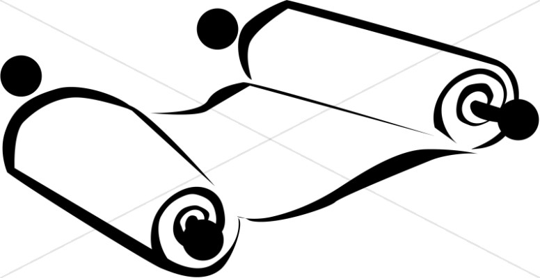 776x400 Scroll In Black And White Bible Clipart