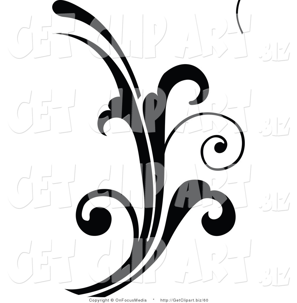 1024x1044 Clip Art of a Curly Black Silhouetted Elegant Scroll Design