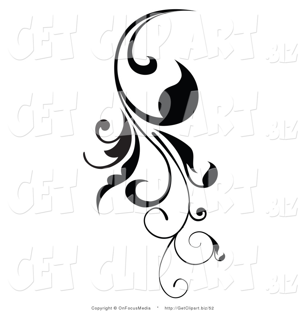 1024x1044 Clip Art of a Vertical Black Scroll Vine Design Element Growing
