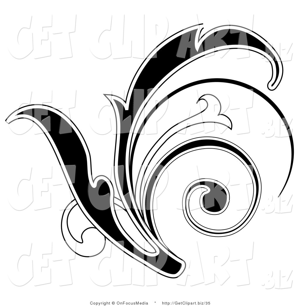 1024x1044 Clip Art of a Black Leafy Scroll Design with a White Outline by