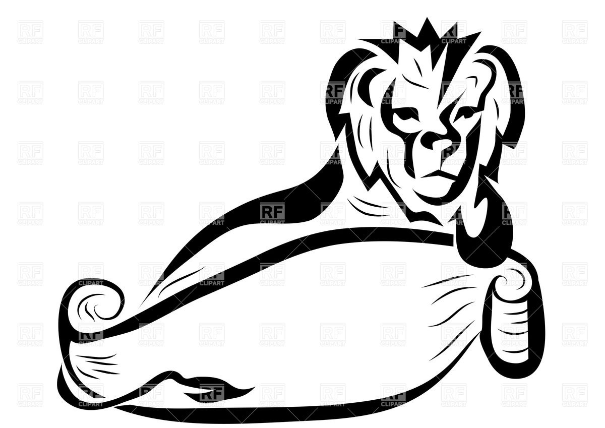 1200x849 Lion With Empty Banner Royalty Free Vector Clip Art Image