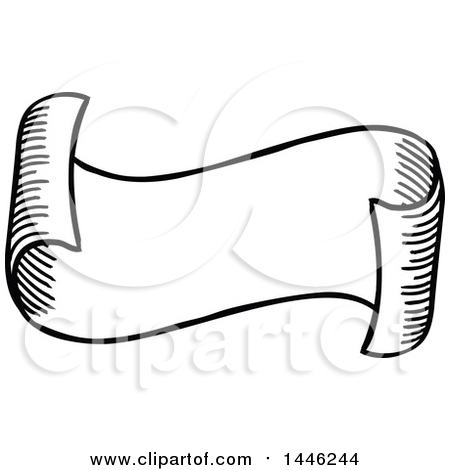 450x470 Clipart Of A Sketched Or Etched Styled Black And White Scroll