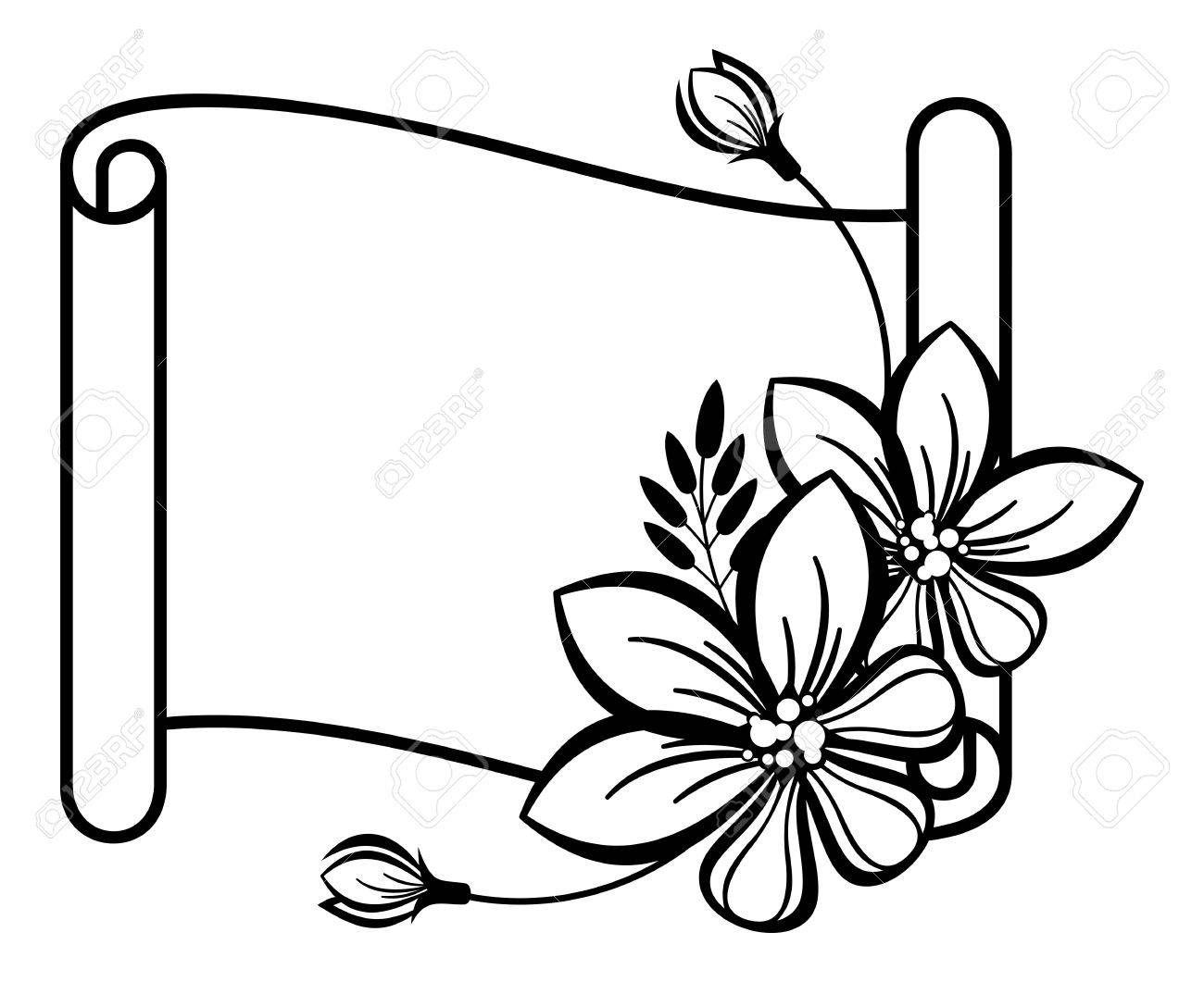1300x1061 Contour Of The Paper Scroll With Decorative Flowers Royalty Free