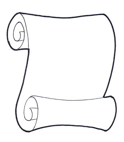 432x497 Drawn Scroll Black And White